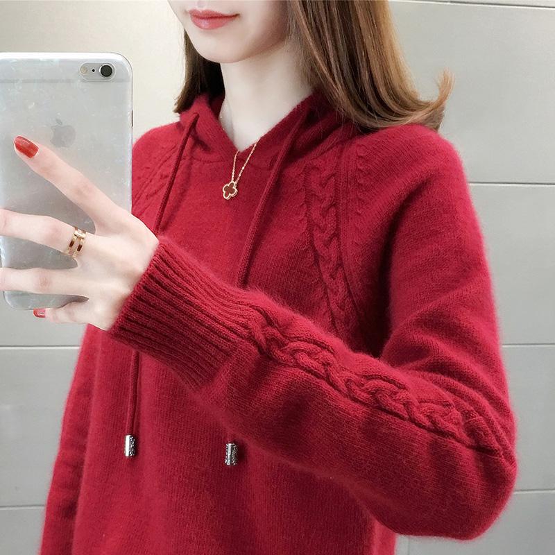 City clover春秋新款学院风毛衣女士套头宽松外穿甜美针织衫上衣