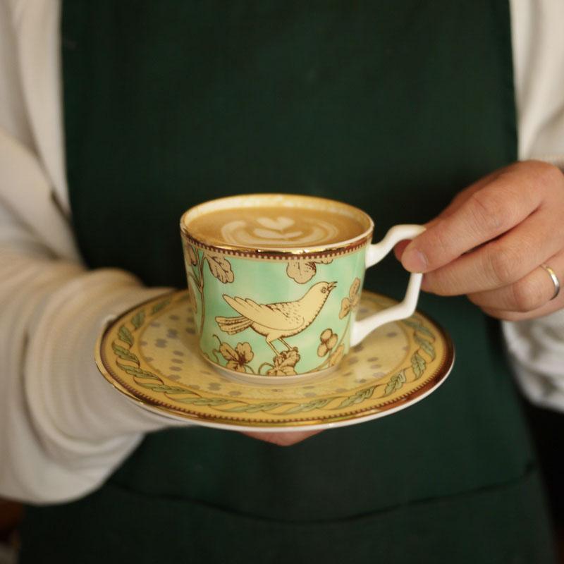W1962出口法国骨瓷精美青鸟/白底繁花系列英式下午茶/咖啡杯/茶杯