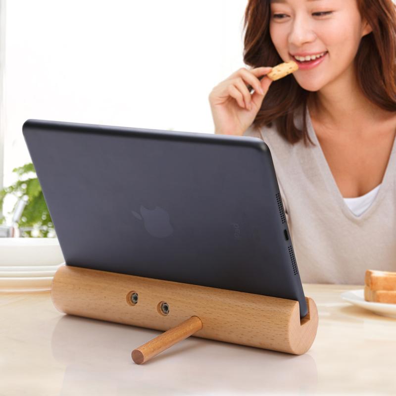 Квартира панель Кронштейн Bed Head Desktop Универсальная функция ipad Стенд Creative Simple Loon Live Phone Stand Деревянный