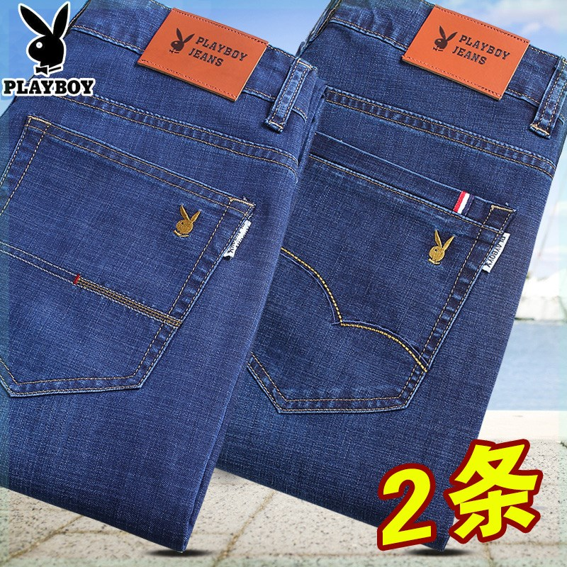 Playboy mens local jeans mens spring and autumn pants elastic straight slim autumn and winter thick high end mens pants