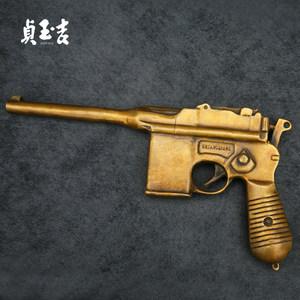 贞玉吉 铜枪模型 驳壳枪勃朗宁沙漠之鹰左轮手枪拍摄道具摆件礼品