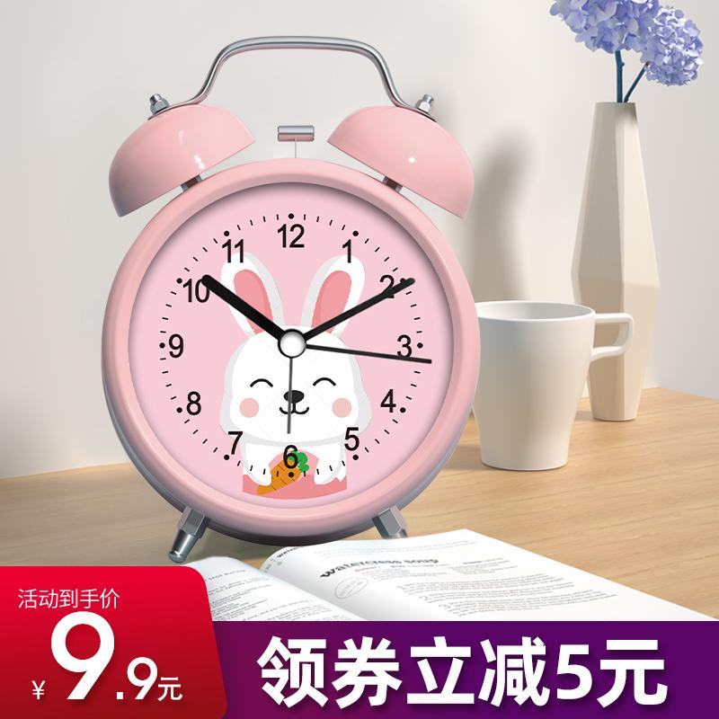 声音超大闹铃小闹钟学生用可充电床头钟卡通儿童专用静音时钟表型