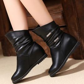 简约内增高短靴女单靴坡跟马丁靴大码平底妈妈棉靴秋冬中跟中筒靴