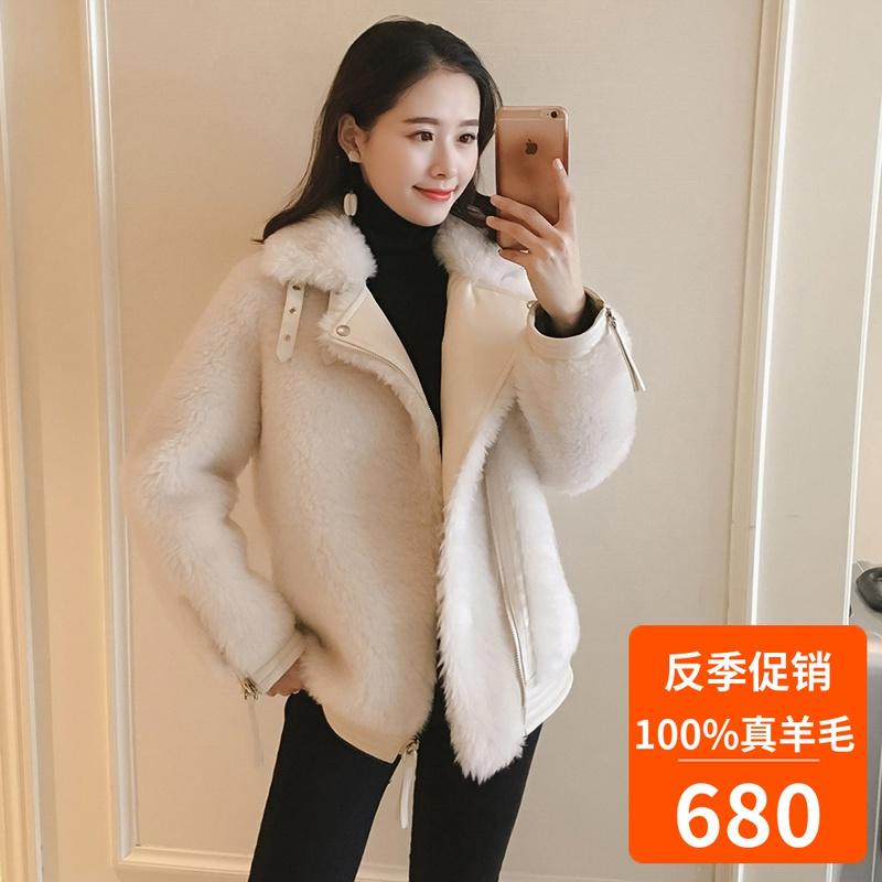 2019新款 机车短款羊剪绒羊毛大衣冰岛羊羔毛皮毛一体外套女韩版