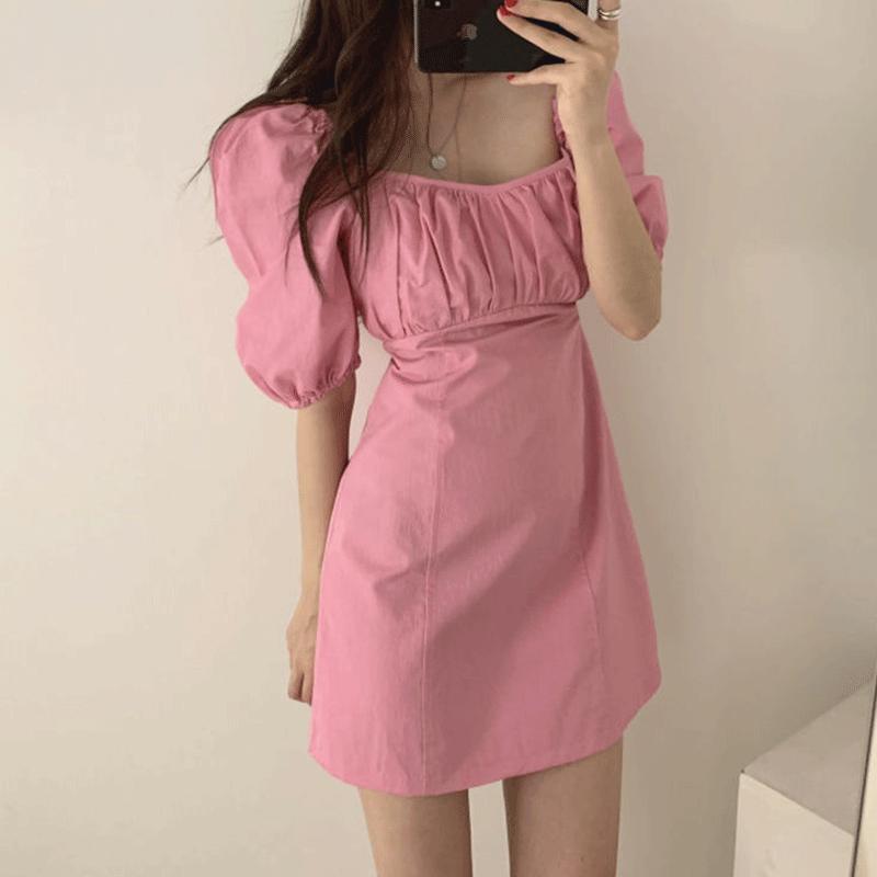 10-22新券韩国chic复古洋气夏季可爱方领短裙
