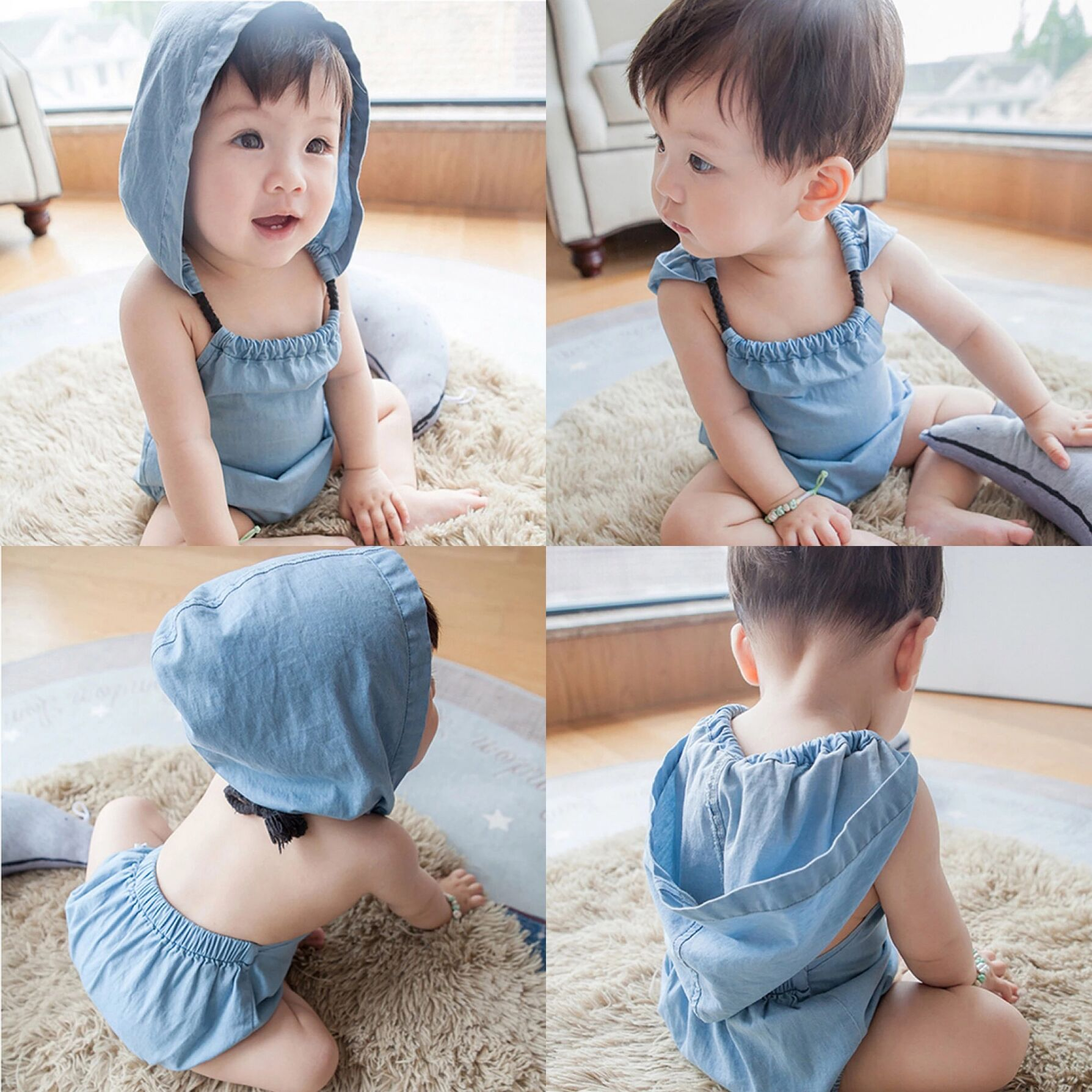 Rabbits ear elastic back sleeveless hooded triangle hatching newborn open back bodysuit creeping suit bag fart clothes