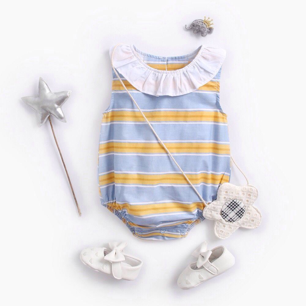 Ins cotton contrast striped baby collar sleeveless triangle creeping suit baby one-piece dress girls summer fashion