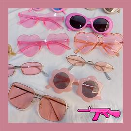 墨镜港风欧美复古拍照猫眼太阳镜粉色系凹造型蹦迪眼镜潮酷情侣女图片