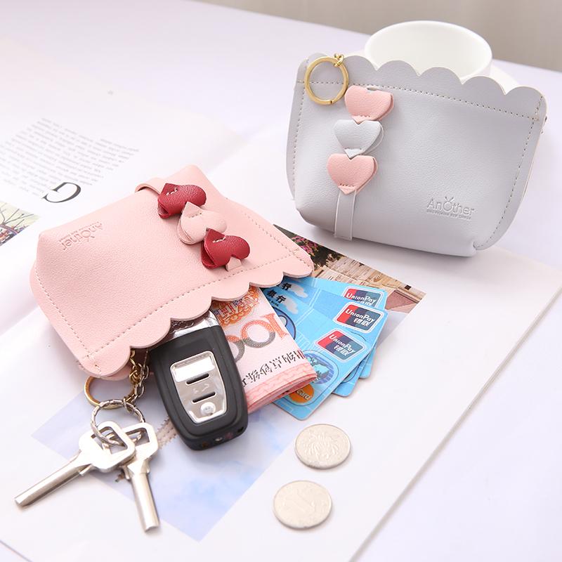 少女心ins小钱包短款学生韩版可爱网红零钱钥匙包桃心百搭硬币包图片