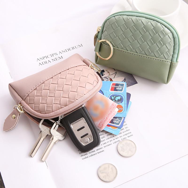 韩版女式短款编织纹钱包ins少女潮女士零钱包可爱小巧迷你小钱包图片
