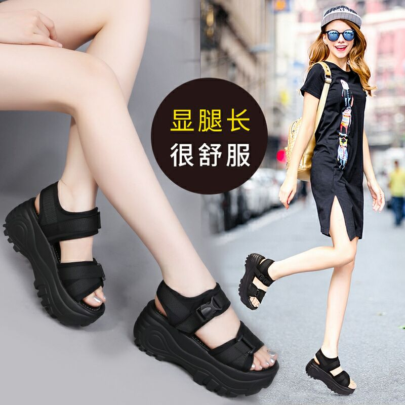 Korean thick soled sandals womens summer 2020 new casual and versatile open toe muffin and Velcro student sports sandals
