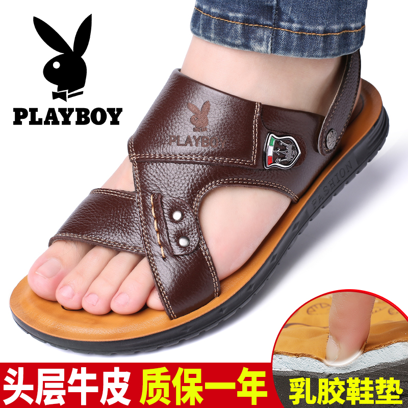 Playboy mens sandals summer leather beach shoes 2019 new breathable casual anti slip sandals mens trend