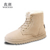 Autumn and winter plus thick velvet boots snow boots cotton-padded shoes with flat lace student Duantong Martin boots women boots