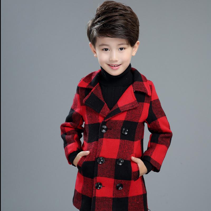 男童格子夾棉中大童風衣