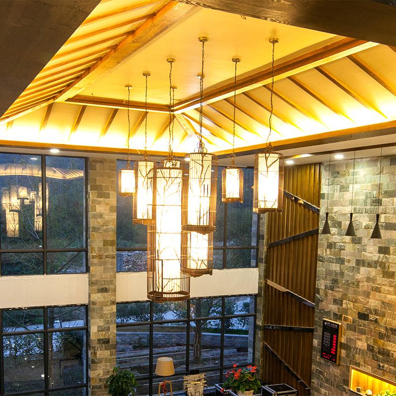 鸟笼灯中式落地灯店铺树枝图案组合装饰竹吊灯客厅卧室餐厅落地灯