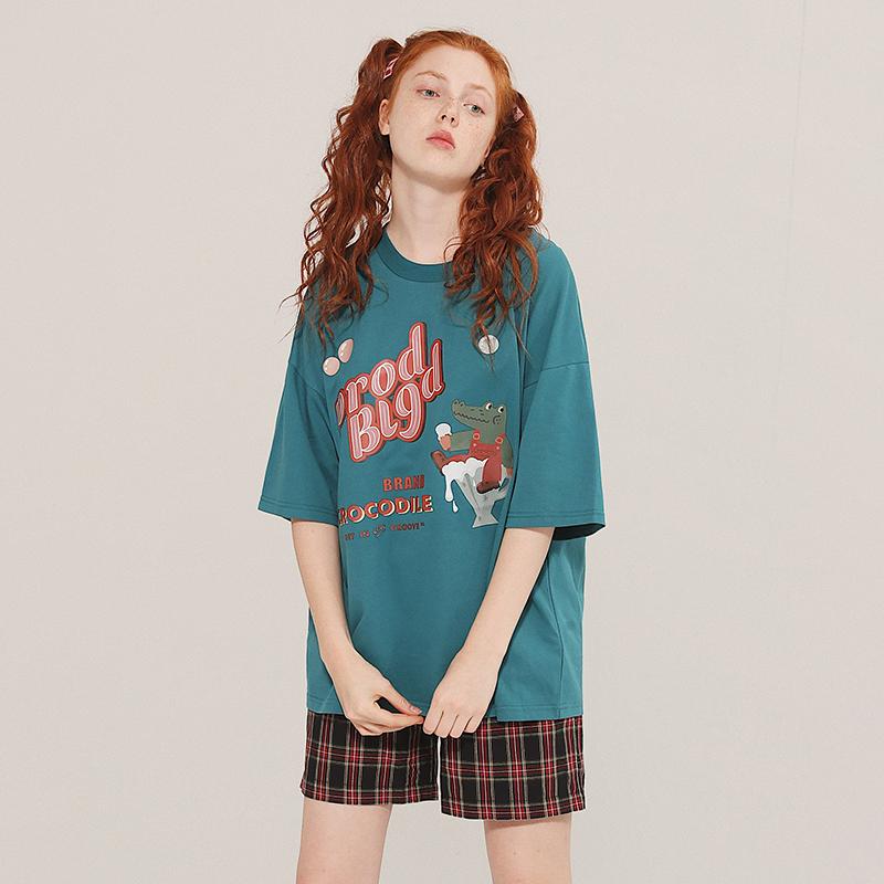 PROD童趣鳄鱼泡泡可爱古着少女短袖T恤宽松女夏复古减龄学生上衣