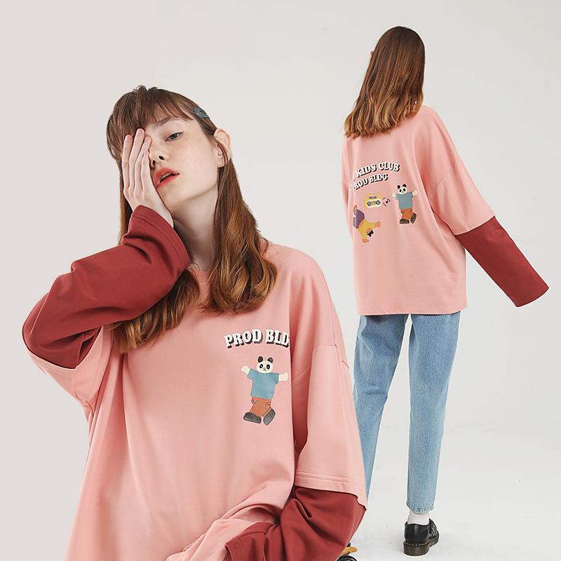 PROD假两件长袖T恤女宽松日系熊猫跳舞可爱粉少女印花薄款春上衣