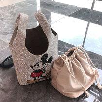 彩钻blin背心包2021新款女包时尚闪闪亮晶手提包水钻菜篮子水桶包