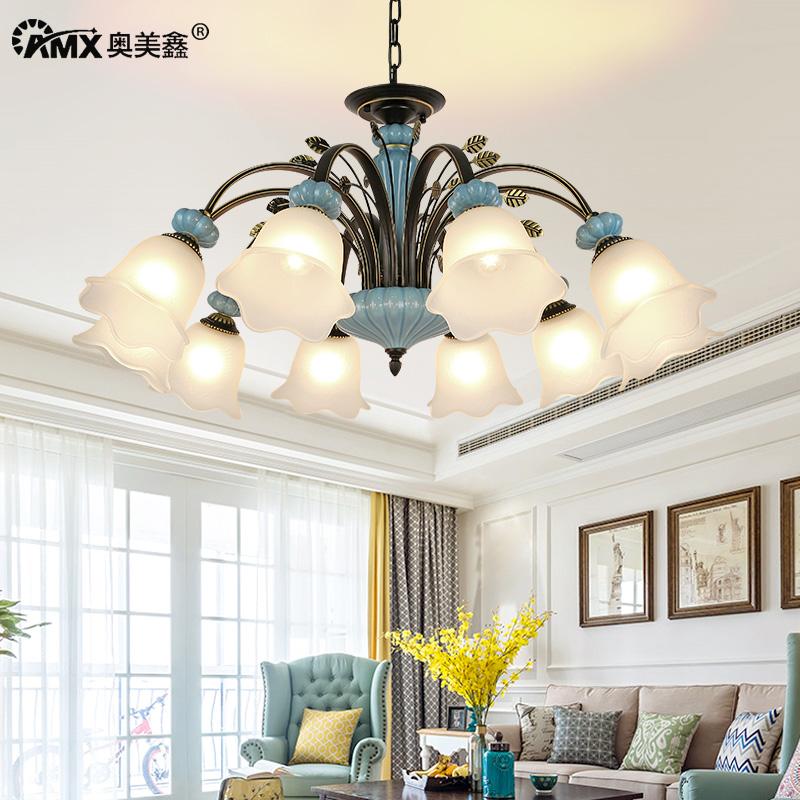 美式陶瓷吊灯简约大气客厅温馨卧室餐厅乡村田园创意铁艺复古灯具