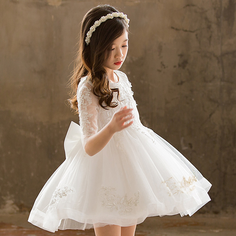 女童公主裙蓬蓬纱春夏装花童宝宝白色婚纱裙演出儿童连衣裙超洋气(非品牌)