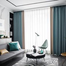 窗帘北欧简约简欧轻奢布客厅2020年新款流行纯色拼接遮光隔热防晒