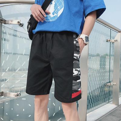K936/P40 原创迷彩撞色韩版短裤男大码宽松学生休闲运动裤ins超火