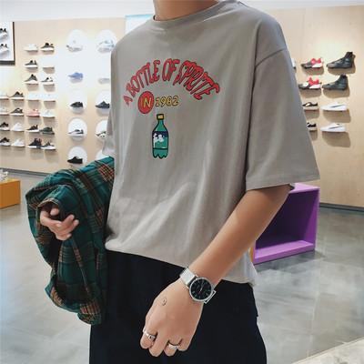 T924/P38男士in超火的夏季百搭印花T恤男情侣原宿潮流大码打底衫
