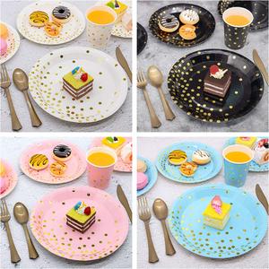 新款烫金圆点粉色白色蓝色 生日布置餐具 一次性纸盘餐盘桌布纸杯