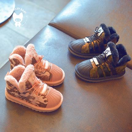 女童雪地靴宝宝加厚棉靴子 2018新款男童加绒面包鞋 儿童冬季棉鞋