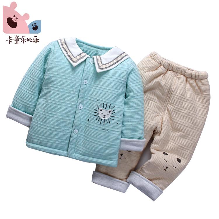 卡童乐比乐秋冬新款童装男女宝宝纯棉南极棉薄棉套装两件套夹棉服