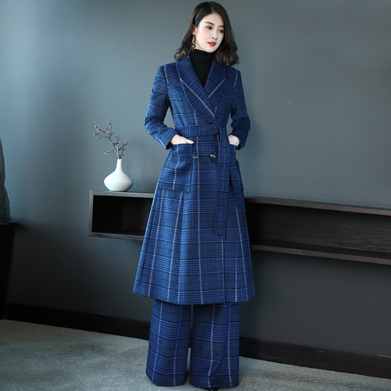 心语泉秋冬毛呢套装女2019新款时尚蓝色大衣气质羊毛阔腿裤两件套