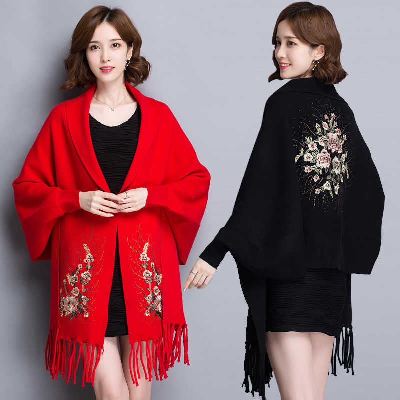 Shawl coat womens spring and autumn new style versatile wool with cheongsam medium long Cape cardigan thin coat
