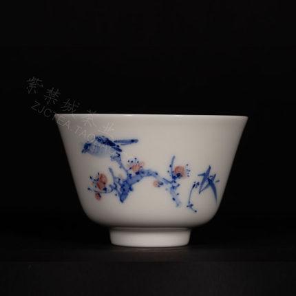台湾 晓芳窑 手绘青花 釉里红 花鸟 沁泉杯