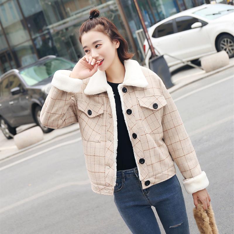 2020秋冬韩版西装格子毛呢外套女短款棉服加厚学生宽松棒球服加绒