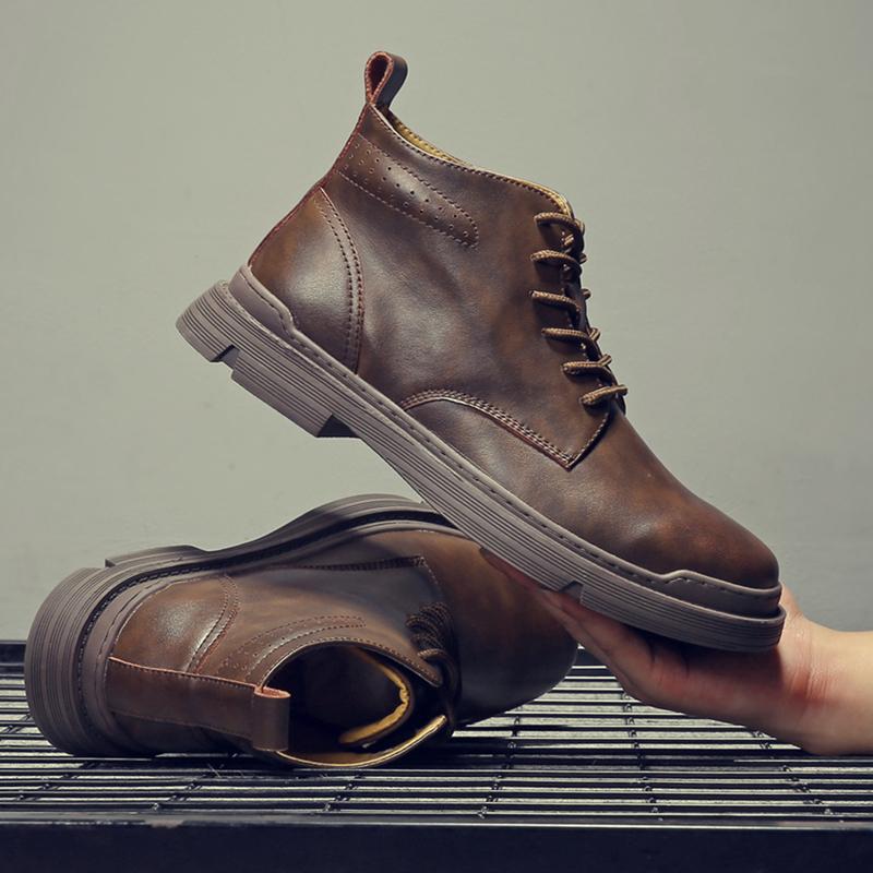 马丁靴男夏季高帮透气英伦工装靴子