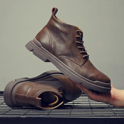 马丁靴男冬季高帮加绒英伦工装靴子