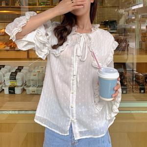 实拍现货◆2021新款雪纺衫长袖韩版时尚荷叶边蝴蝶结衬衫
