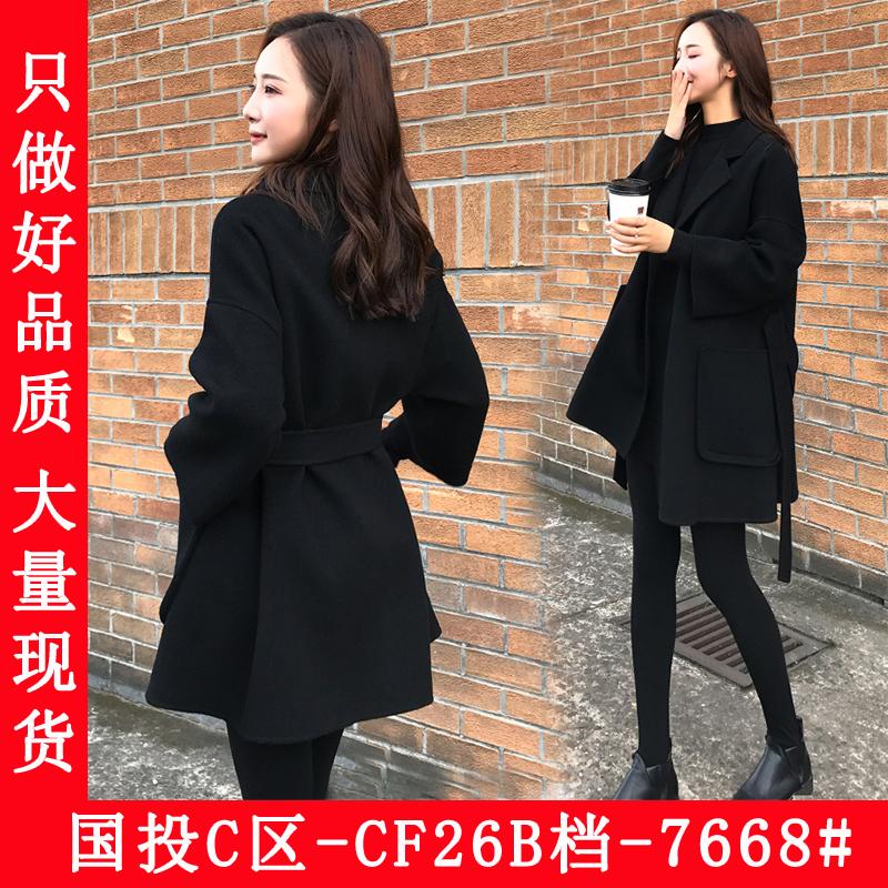 黑色雙面羊絨呢子大衣女秋冬2019年新款赫本風小個子毛呢外套短款