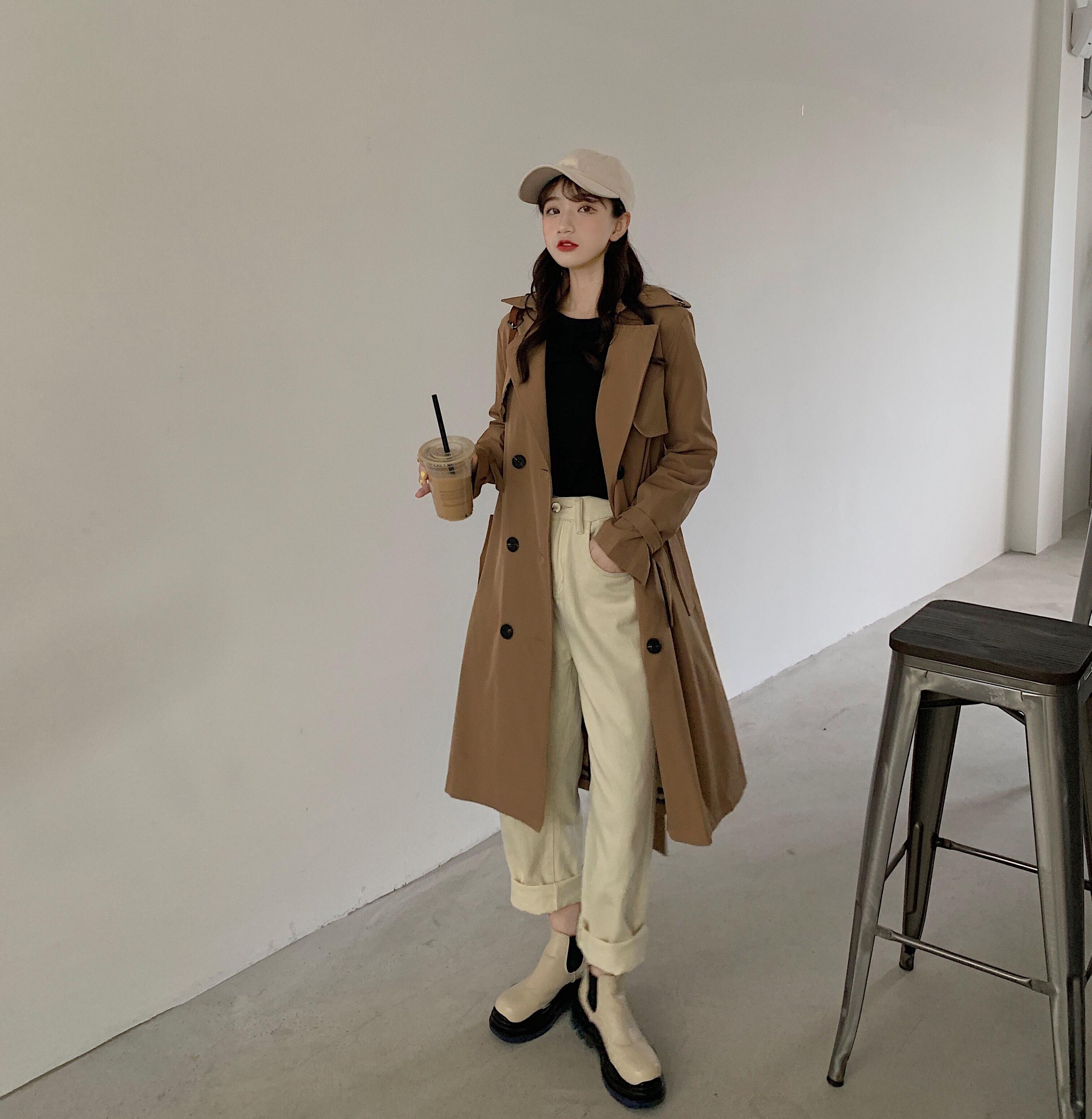 2021秋冬新款女時尚氣質中長系帶收腰薄款單排扣風衣