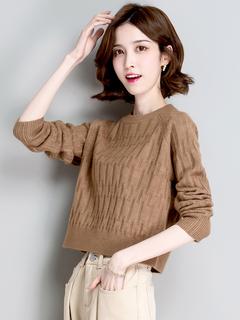 圆领短款小毛衣秋冬季2021年新款女装爆款时尚洋气高腰针织打底衫
