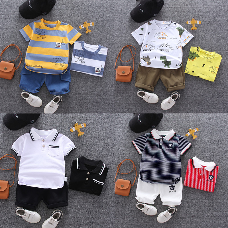2020 new childrens T-shirt cute boys and girls clothes short sleeve childrens suit 0-1-2-3-4 years old summer wear