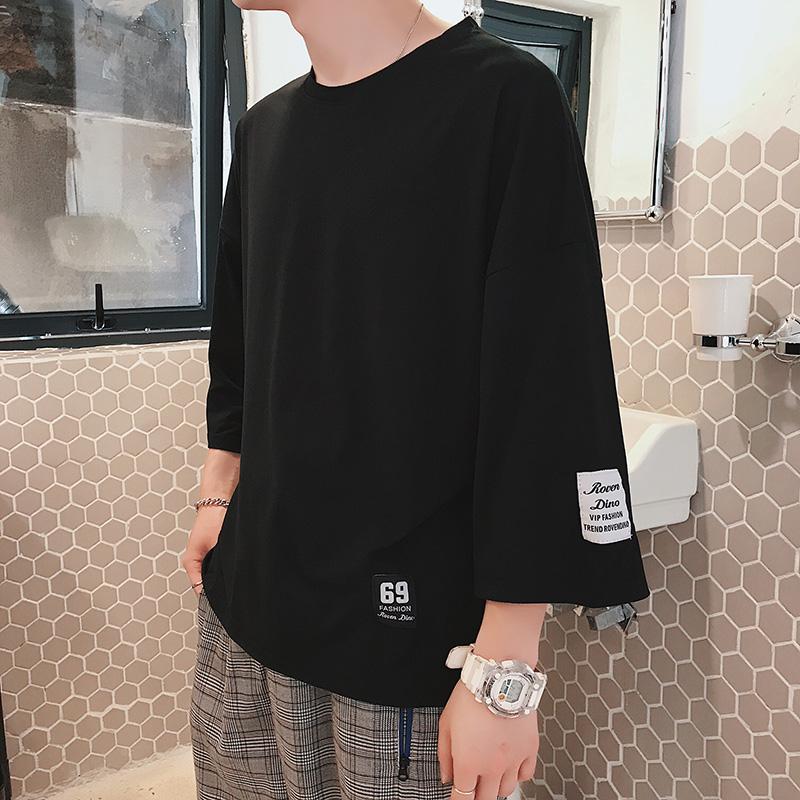 夏季短袖T恤男士卫衣韩版7七分袖宽松运动5分上衣服潮流帅气男装
