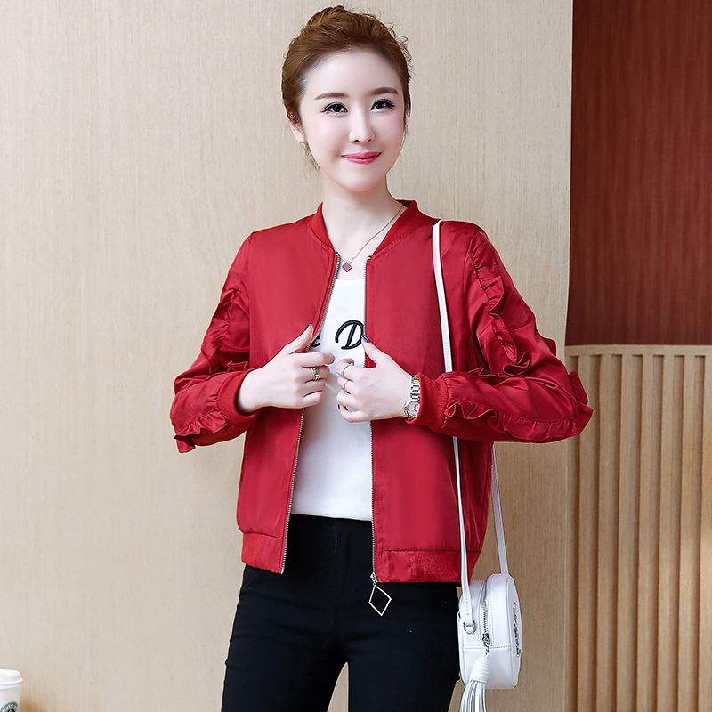 Double layer lining short coat womens spring and autumn 2019 Korean version casual student Ruffle jacket bomber