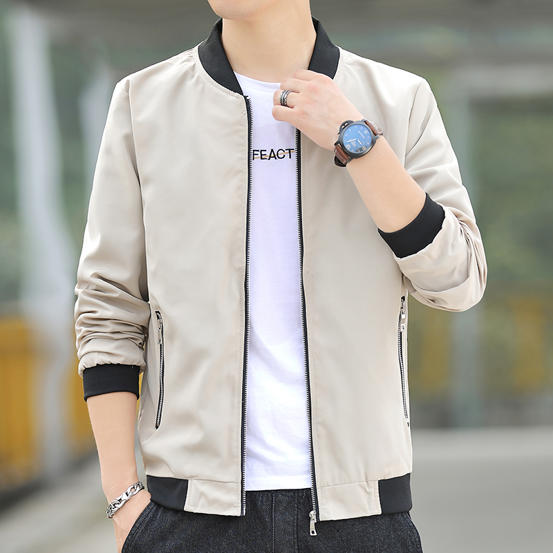 2020 mens autumn new fashion leisure trend Youth Popular baseball collar embroidery versatile jacket coat