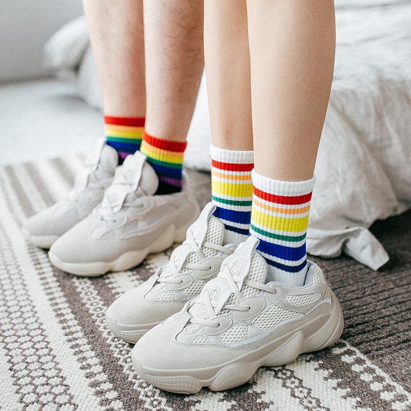 限9000张券3双装彩虹子女韩国糖果色潮条纹袜