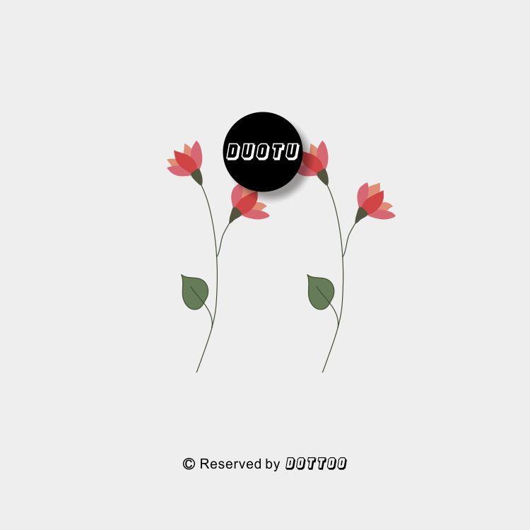 限1000张券哆图创意彩色花朵小清新防水纹身贴