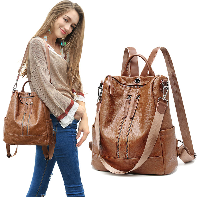 Backpack women 2020 new fashion leather soft leather large capacity womens Travel Backpack leisure versatile