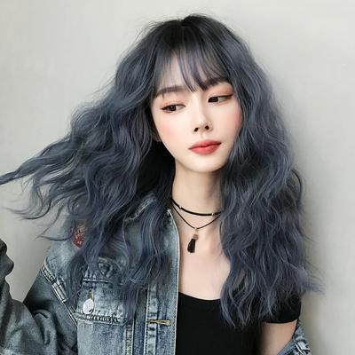 假发女中长发羊毛卷齐刘海短发雾霾蓝自然全头锁骨发网红新式发套