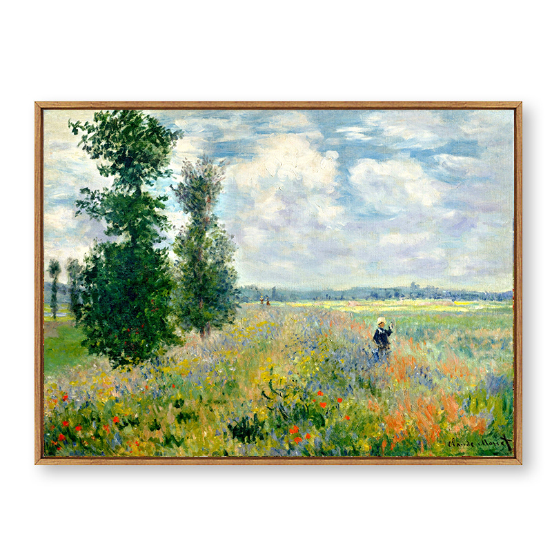 《草地》莫奈油画客厅卧室玄关挂画装饰有框北欧复刻原版包邮名画