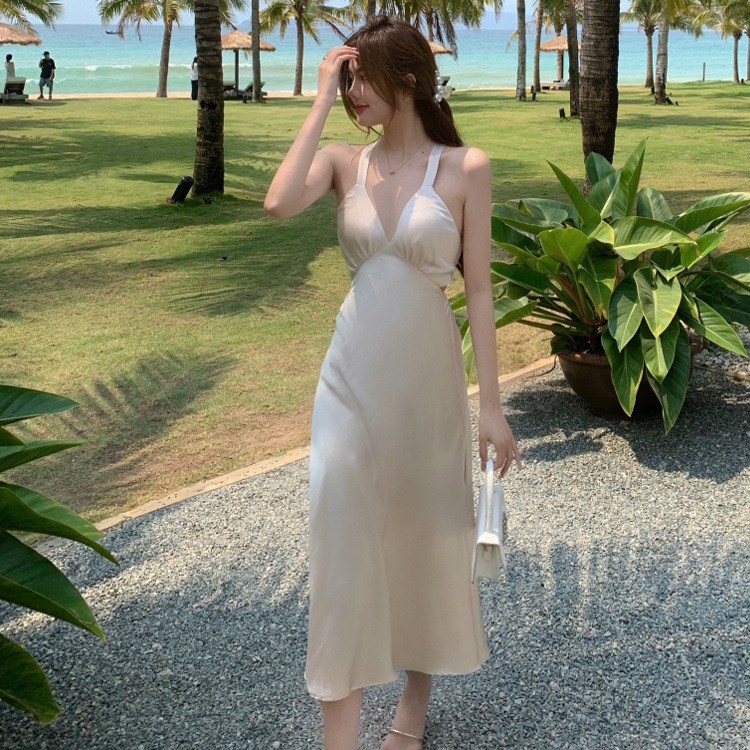 Dress suitable for Sanya French super Fairy Holiday open back cross tie bow satin dress summer